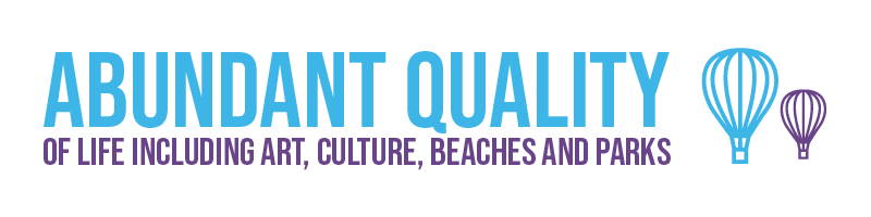 Abundant quality of life including art, culture, beaches, and parks