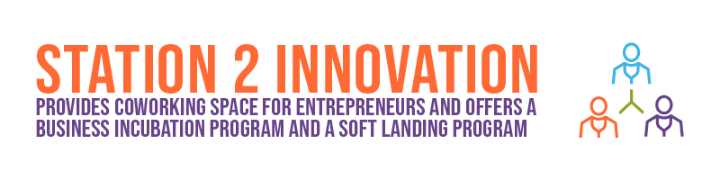 Station 2 Innovation provides coworking space for entrepreneurs and offers a business incubation program and a soft landing program